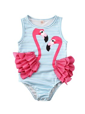 Flamingo Kid Baby Girl One Piece Bikini Swimwear Bathing Suit Swimsuit Beach