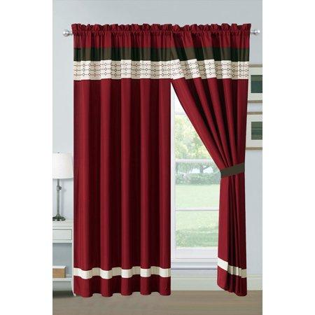 4-Pc Yuma Diamond Stripe Southwest Embroidery Curtain Set Burgundy Red Beige Brown Valance Drape Sheer (Tropez Stripe)