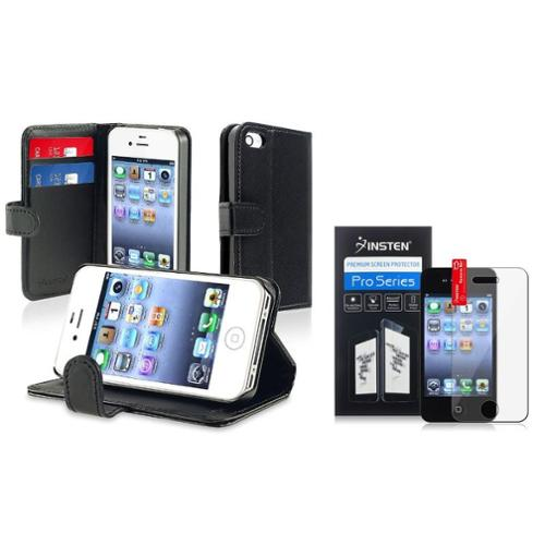 Insten For iPhone 4 4G 4S Black Executive Specially Leather Book Wallet Case w/ Credit Card/Business Card Holder