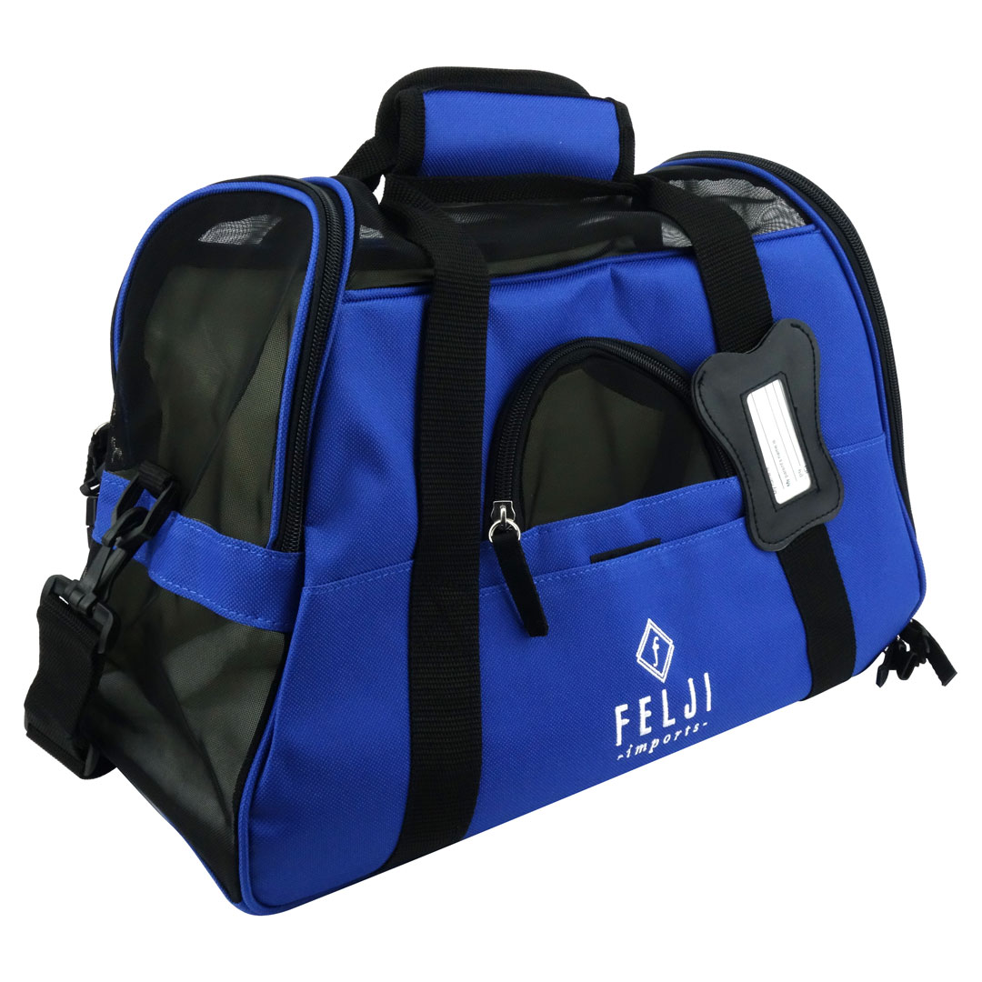 Felji Small Pet Carrier Soft Sided Cat Dog Comfort Travel Tote Shoulder Bag Blue