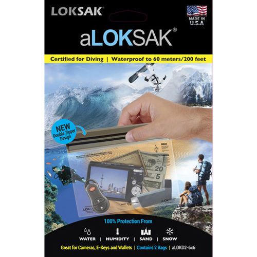 "Loksak aLoksak Waterproof Re-Sealable Storage Bags (2 Pack) - 6.5"" x 6"""