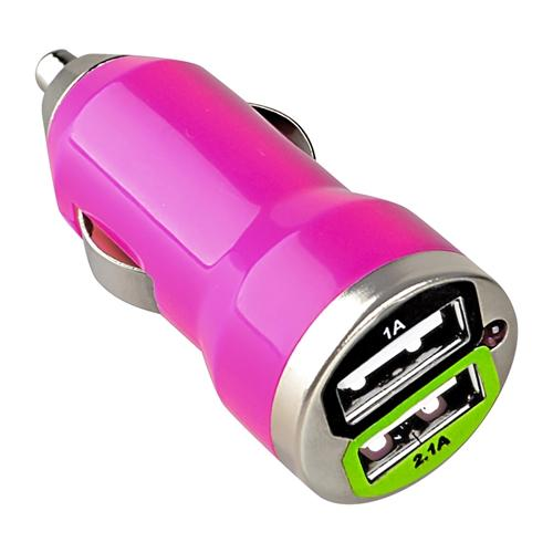 Insten 2A Dual USB Port Car Charger For Apple iPad Pro Air 1st 2nd Mini 1 2 3 4 iPhone / Samsung Galaxy Tab 2 3 4 Pro E A S S2 / Kindle Fire / RCA / Visual Land / Ematic / Nextbook Tablet - Hot Pink