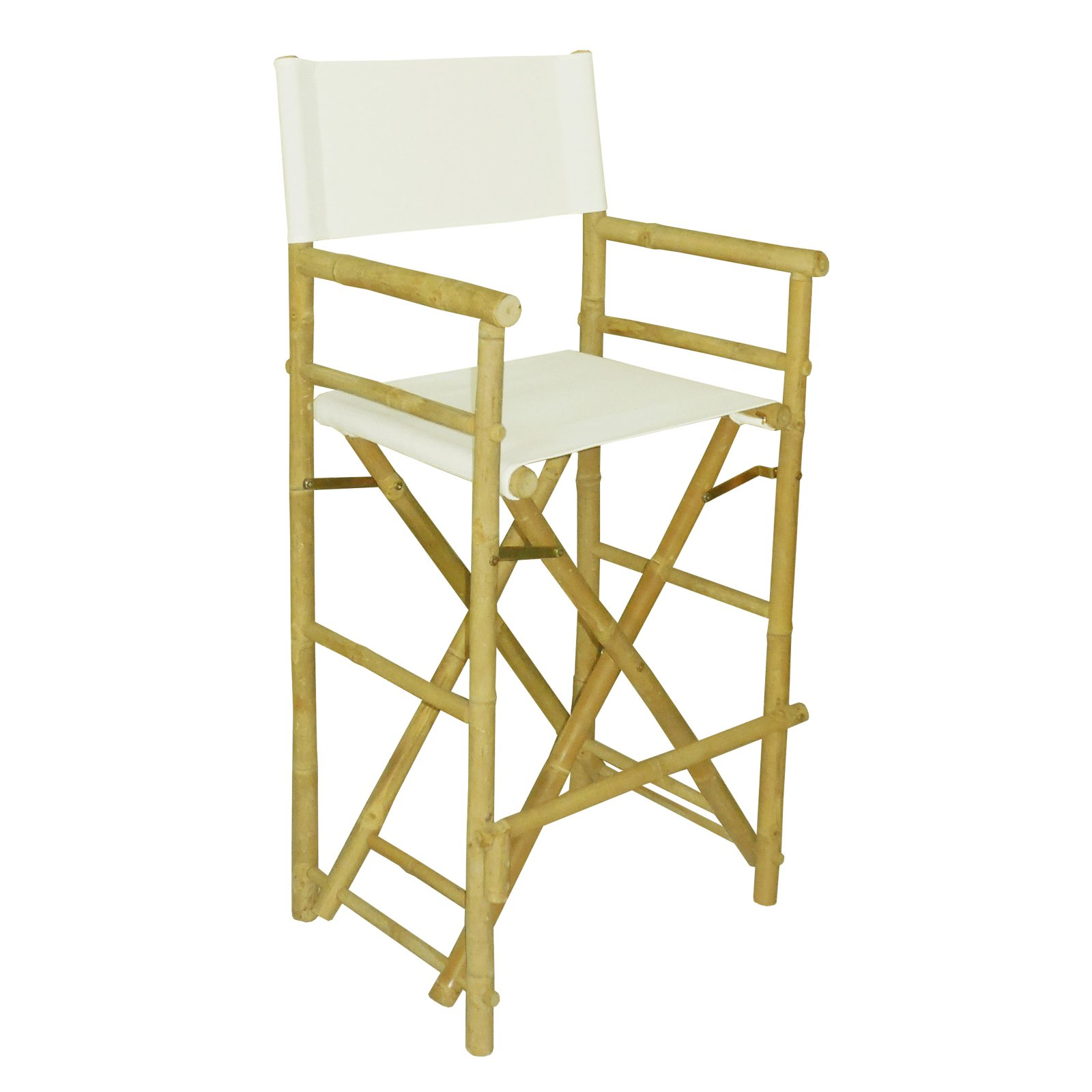 Statra Bamboo Indoor Outdoor Canvas Directors Chair Barstool - Set of 2