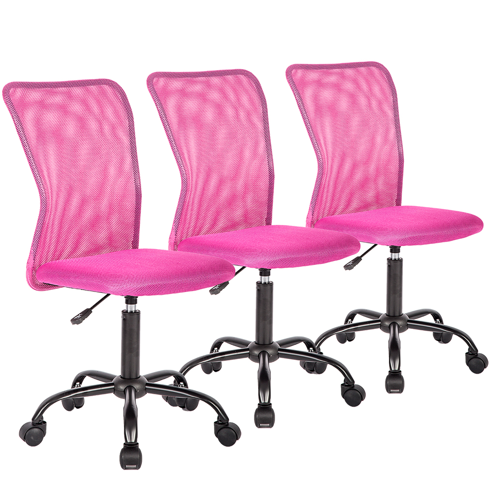 Set Of 3 Mid-Back Mesh Office Chair Computer Task Swivel Seat Ergonomic Chair