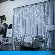 TORCHSTAR 9.8ft x 9.8ft LED Curtain Lights for Bedroom, Starry Christmas String Light, Indoor Decoration for Festival Wedding Party Living Room Bedroom, Pure Light