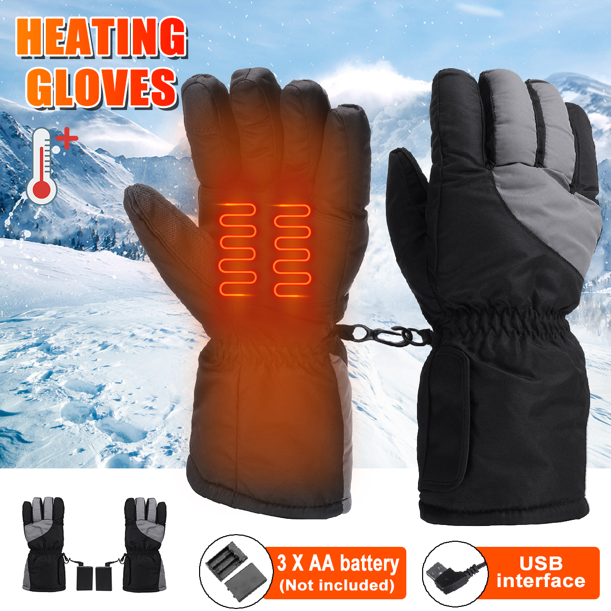 Heated Gloves Battery operated Women Thermal Winter Warm Electric Fishing Skiing