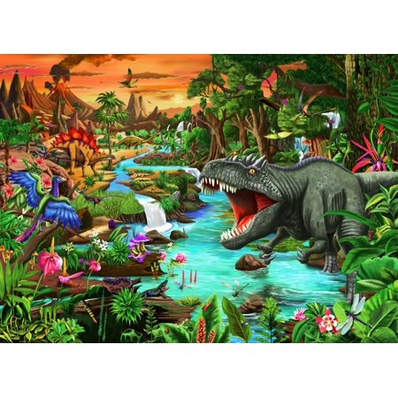 Jurassic Jungle Oasis Stretched Canvas - Gerald Newton (18 x 12) Newton Stretched Canvas