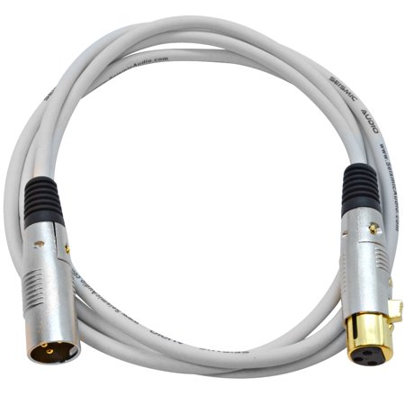 Seismic Audio Premium 6 Foot White XLR Patch Cable Cord - 3 Pin XLRF to XLRM Mic Cord - SAPGX-6White