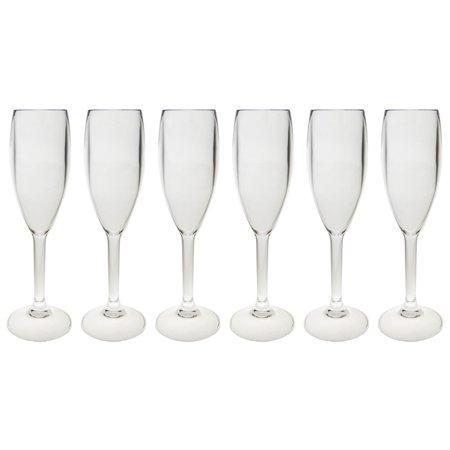 6 arcoroc 5oz plastic champagne flute glasses e6125 wholesale bulk lot barware. Black Bedroom Furniture Sets. Home Design Ideas