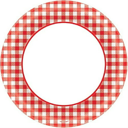 Amscan Picnic Gingham Party Round Plates, 6.75