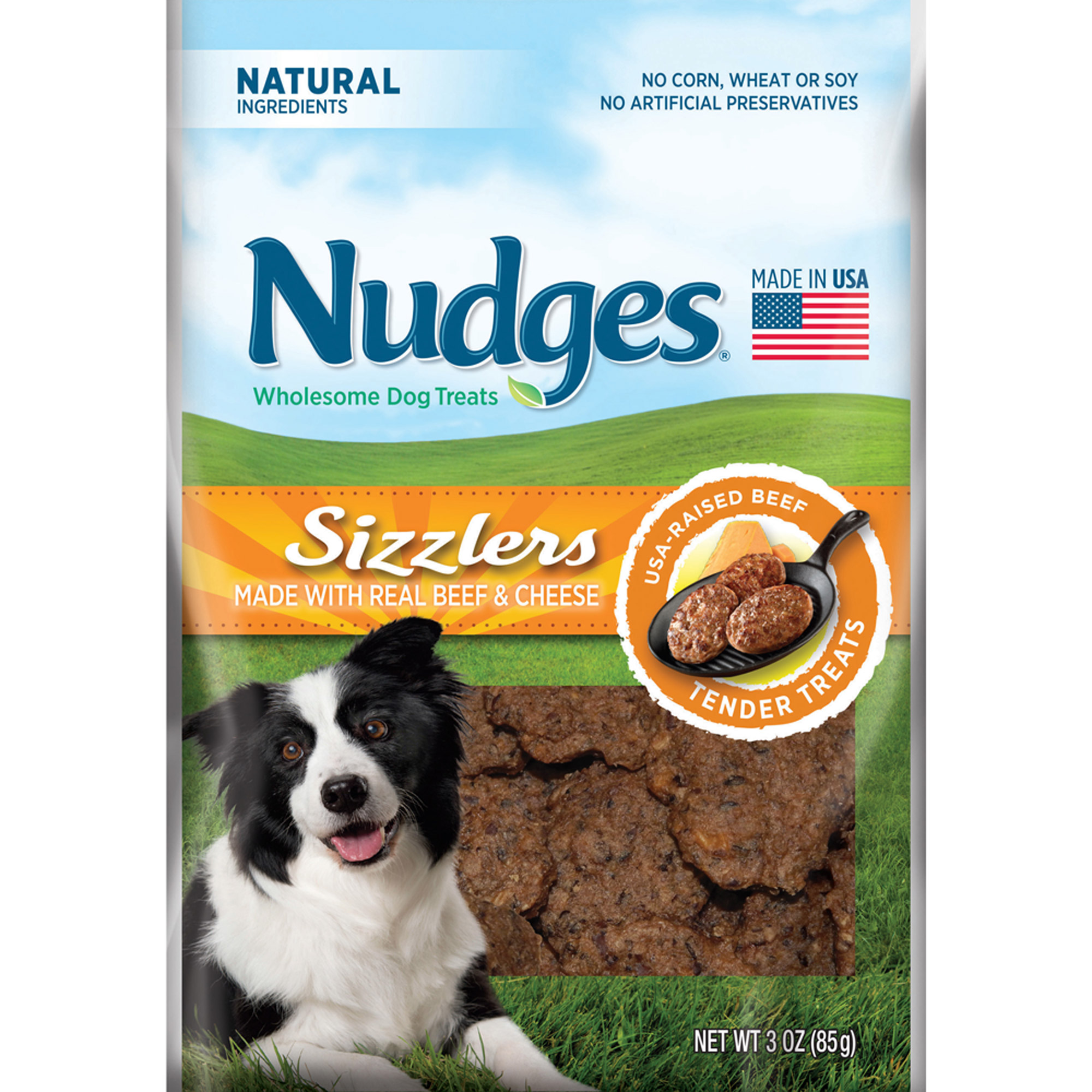 Nudges Beef and Cheese Sizzlers Dog Treats, 3 oz