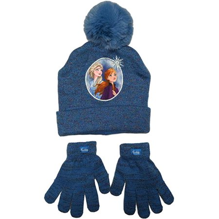 Disney Frozen II 2 Beanie Winter Hat and Mittens Cold Weather Set, Age 4-7 ()