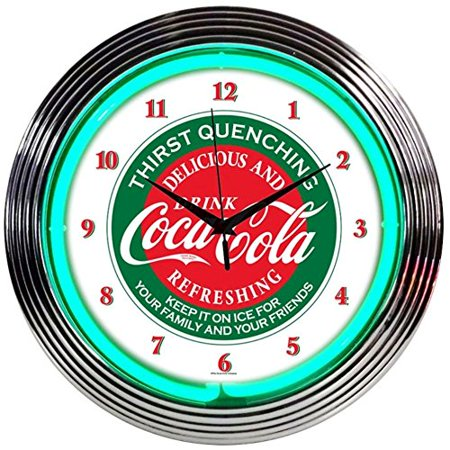 - Neonetics Drinks Coca Cola Evergreen Neon Wall Clock, 15-Inch