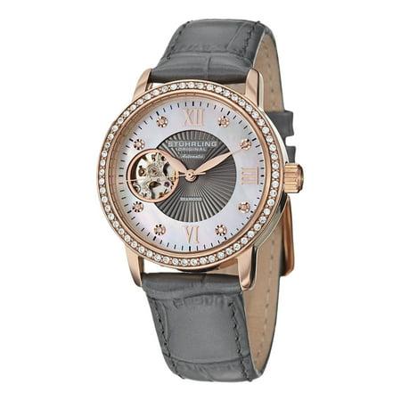 Stuhrling Original  Women's Memoire Automatic Austrian Crystal Leather Strap Watch Rose Tone/Grey