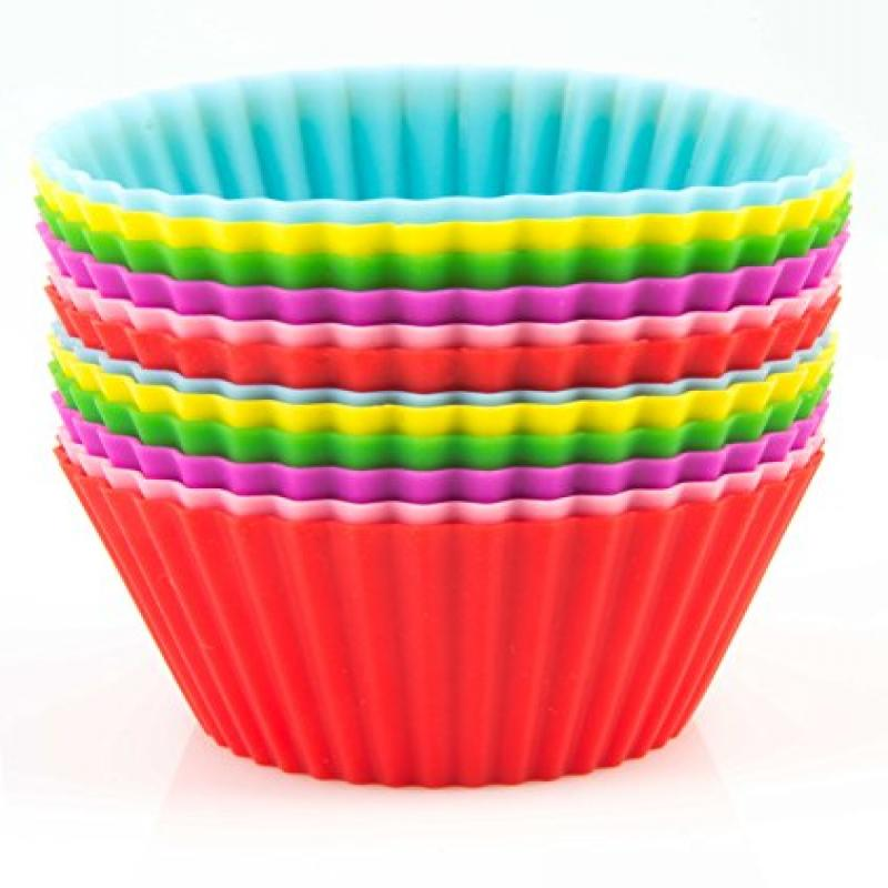 Silicone Baking Cups / Cupcake Liners - 12 Vibrant Muffin Molds in Storage Container - by Mrs. Cupcake