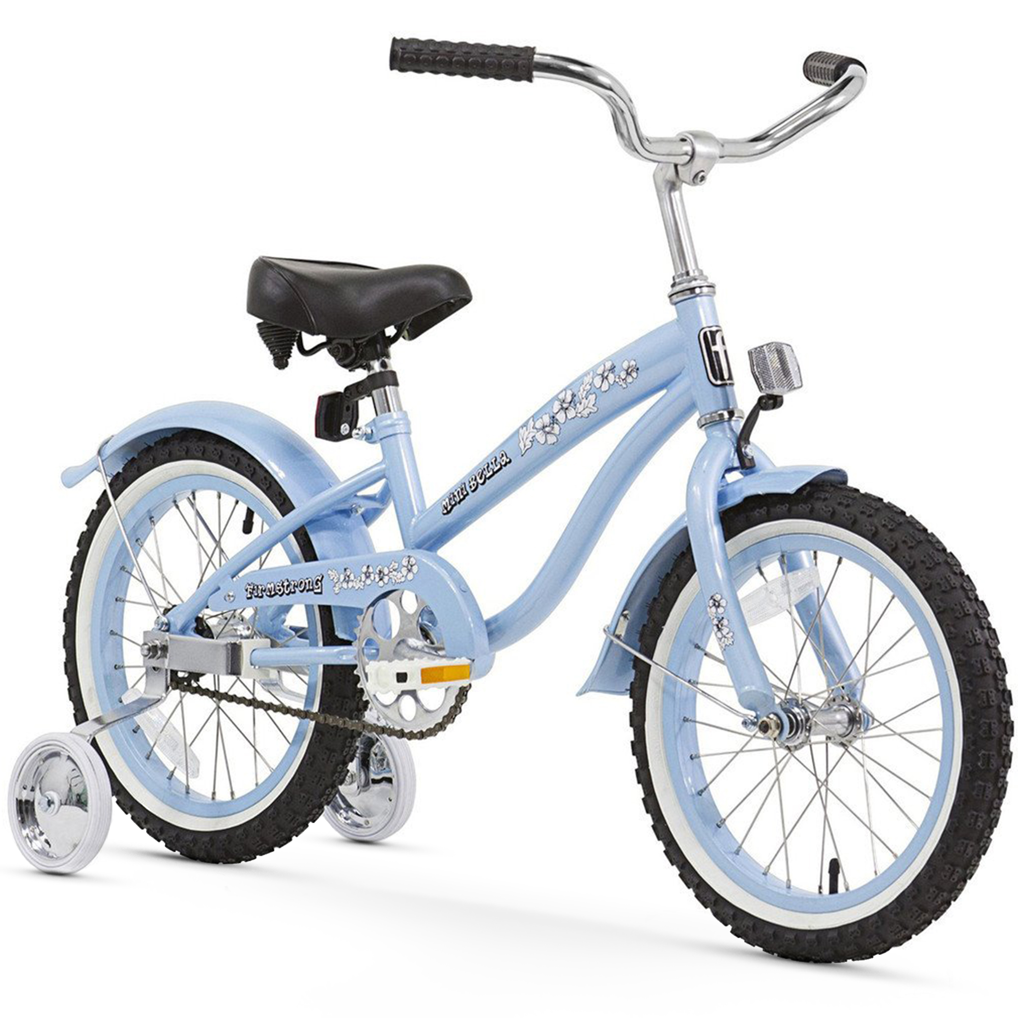 "16"" Firmstrong Mini Bella Single Speed Girls Bicycle with Training Wheels, Baby Blue"