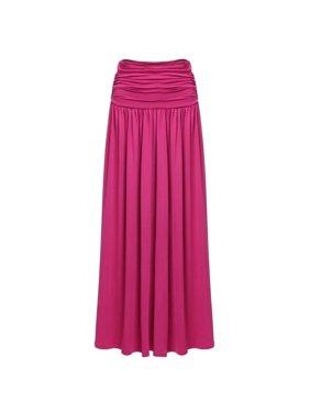 98df34d5a Product Image Women Fashion Elastic Waist Solid Fleated Long Maxi Skirt HFON