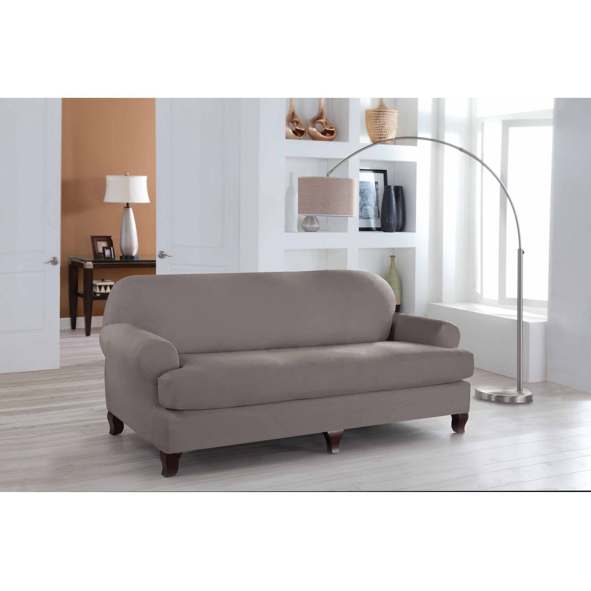 Serta Stretch Fit Microsuede Slipcover, Sofa, 2-Piece T Cushion -  Walmart