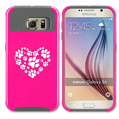 Samsung Galaxy S7 Shockproof Impact Hard Case Cover Heart Paw Prints (Hot Pink-Grey ),MIP