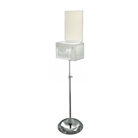 Azar 206320-WHT Large White Suggestion Box on Adjustable Pedestal Floor Stand w/ Lock (Kohler Floor Container)