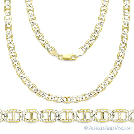 Diamond Cut Silver Plated Brass (Diamond Cut Pave 3.5mm Mariner Link Chain Necklace in 14k Plated .925 Sterling Silver)