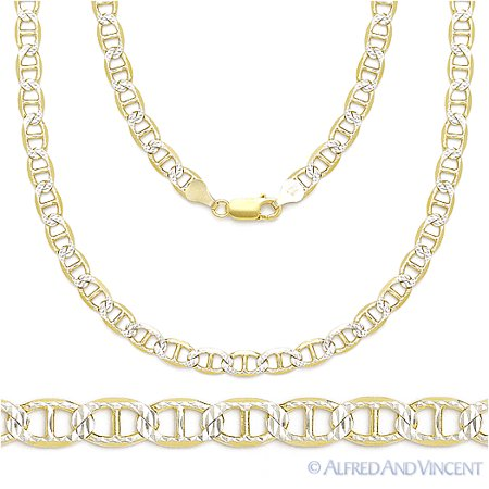 Diamond Cut Pave 3.5mm Mariner Link Chain Necklace in 14k Plated .925 Sterling Silver 5mm White Pave Mariner Chain