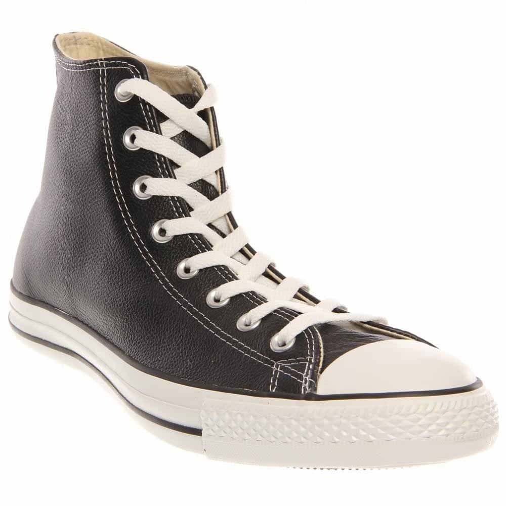 Converse All Star Black Leather Rubber Cap Lace Up by Converse