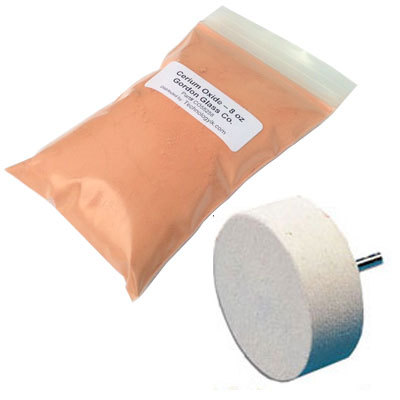 "Cerium Oxide High Grade Polishing Powder 8 Oz and 4"" Felt Polishing Wheel Kit by"
