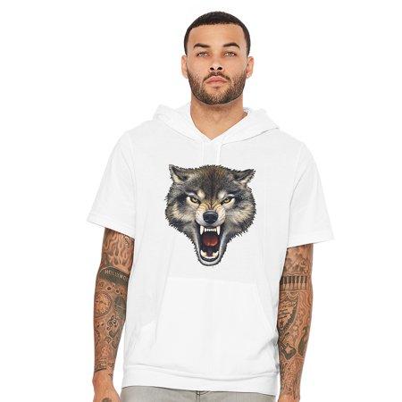 Men's Biting Wolf Black Short Sleeve Hoodie T-Shirt Large (Adult Large Bites)