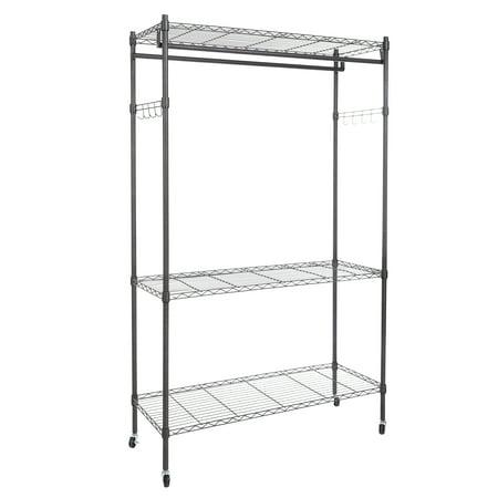 3 tier portable clothes shelf closet organizer garment. Black Bedroom Furniture Sets. Home Design Ideas