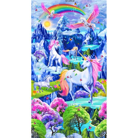 Timeless Treasures Quilting (Timeless Treasures Novelty Majestic Unicorn Bright Scenic 24