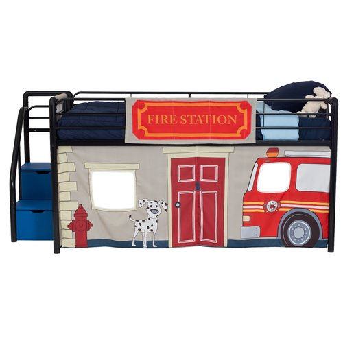 Zoomie Kids Woodlynne Fire Department Curtain Set for Junior Loft Bed