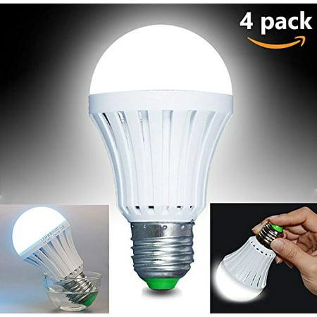 Emergency LED Light Bulb, Epicgadget 4 Pack 5W White Magical Emergency LED Light Bulb E27 6500K,60 Watt Equivalent