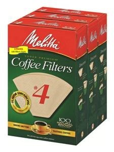 Melitta #4 Natural Brown Cone Coffee Filters, 100 Ct (3 Pack) by Melitta