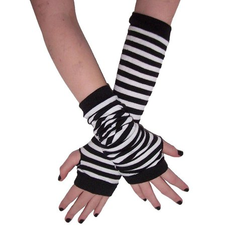 Avenue Stripe - Leg Avenue White Black Stripe Gothic Arm Warmers Gloves Anime Cosplay Punk Pinup Dance