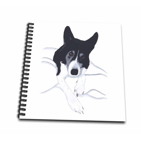 Border Collie Black And White - 3dRose Painting of a Black and White Border Collie Dog Laying on a Bed - Mini Notepad, 4 by 4-inch