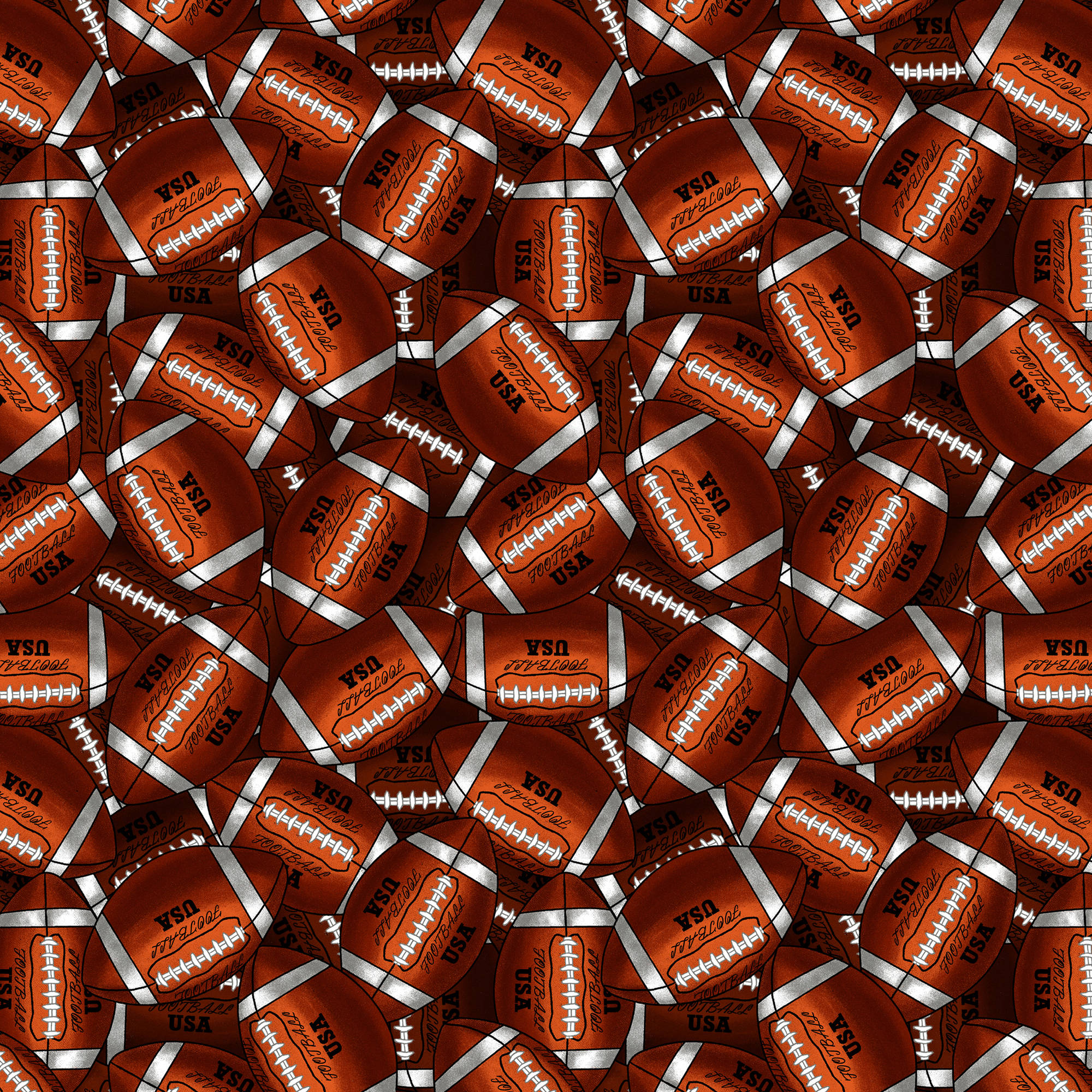 "David Textiles 36"" x 44"" Packed Footballs Fabric, per Yard"