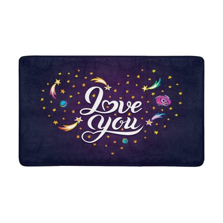 MKHERT Heart of Falling Stars Planets Comets and Galaxies on a Cosmic Heart Doormat Rug Home Decor Floor Mat Bath Mat 30x18