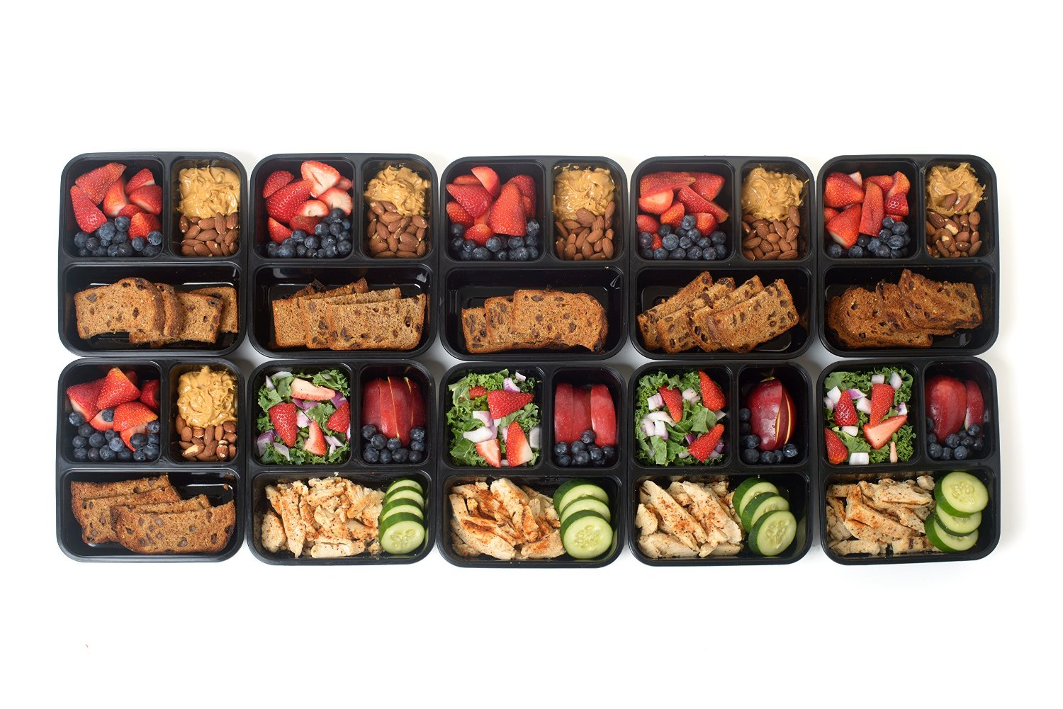 60pk 3 Compartment Reusable Food Storage Meal Prep Containers w
