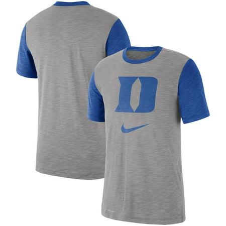 new concept d11a2 585d0 Duke Blue Devils Nike Baseball Performance Cotton Slub T-Shirt - Heathered  Gray/Royal