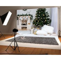 GreenDecor Polyester 7x5ft Christmas Photography Backdrop Tree Interior Decorations Fireplace Gift Box Stocking White Blanket Brick Wall Scene Photo Background Children Baby Adults Portraits Backdrop