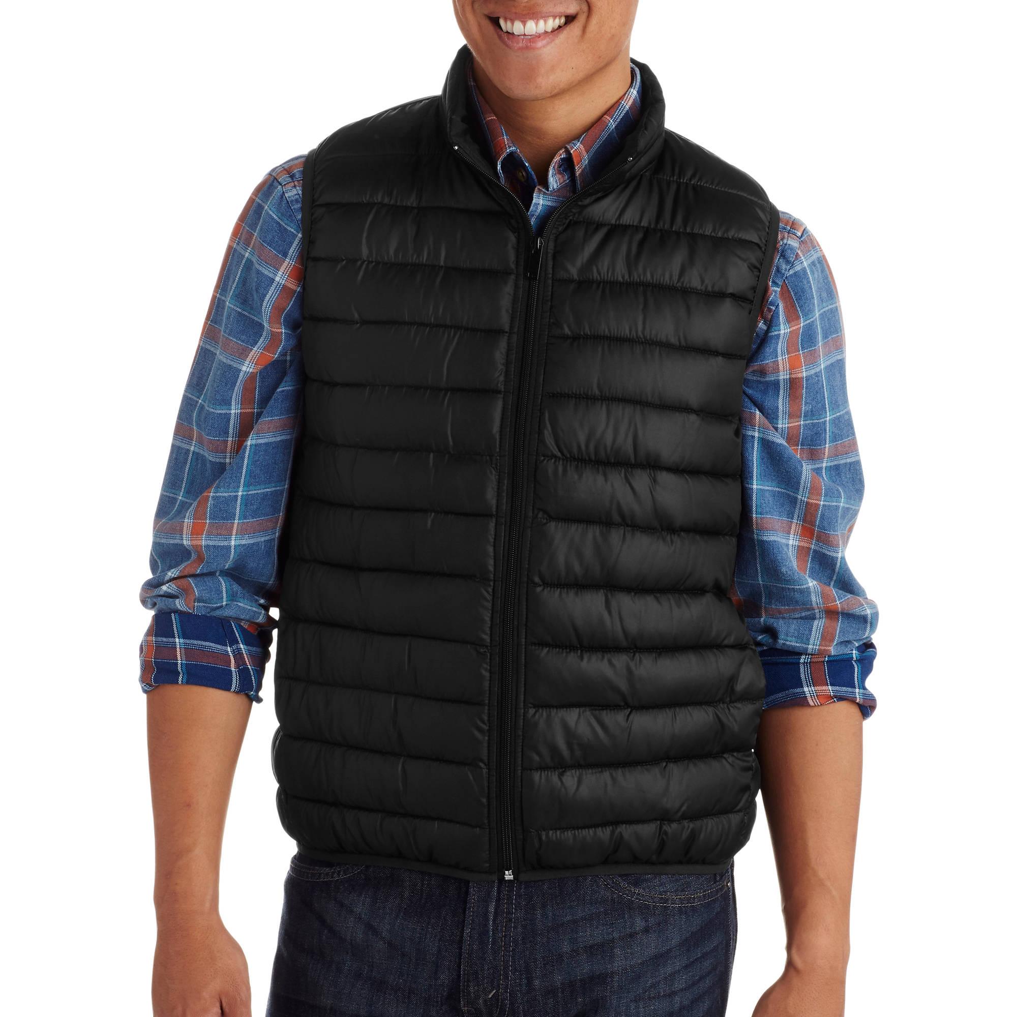 Mens Packable Faux Down Vest