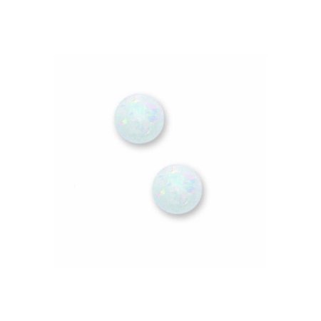 14k Yellow Gold 6mm Simulated Opal Ball with Baby Safe Screwback Earrings