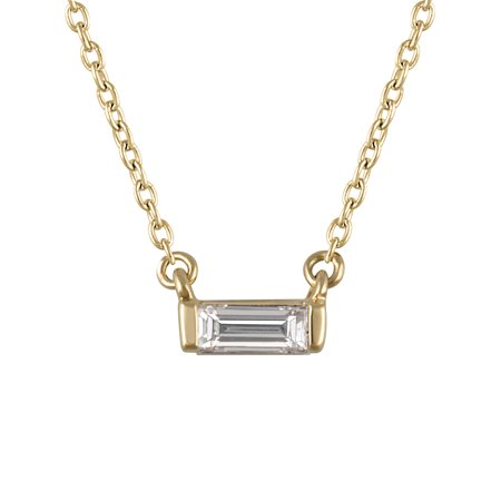 "1/10 cttw Diamond (VS clarity, G-H color) Baguette Bar Necklace in 14k Yellow Gold with a 16+2"" Chain"