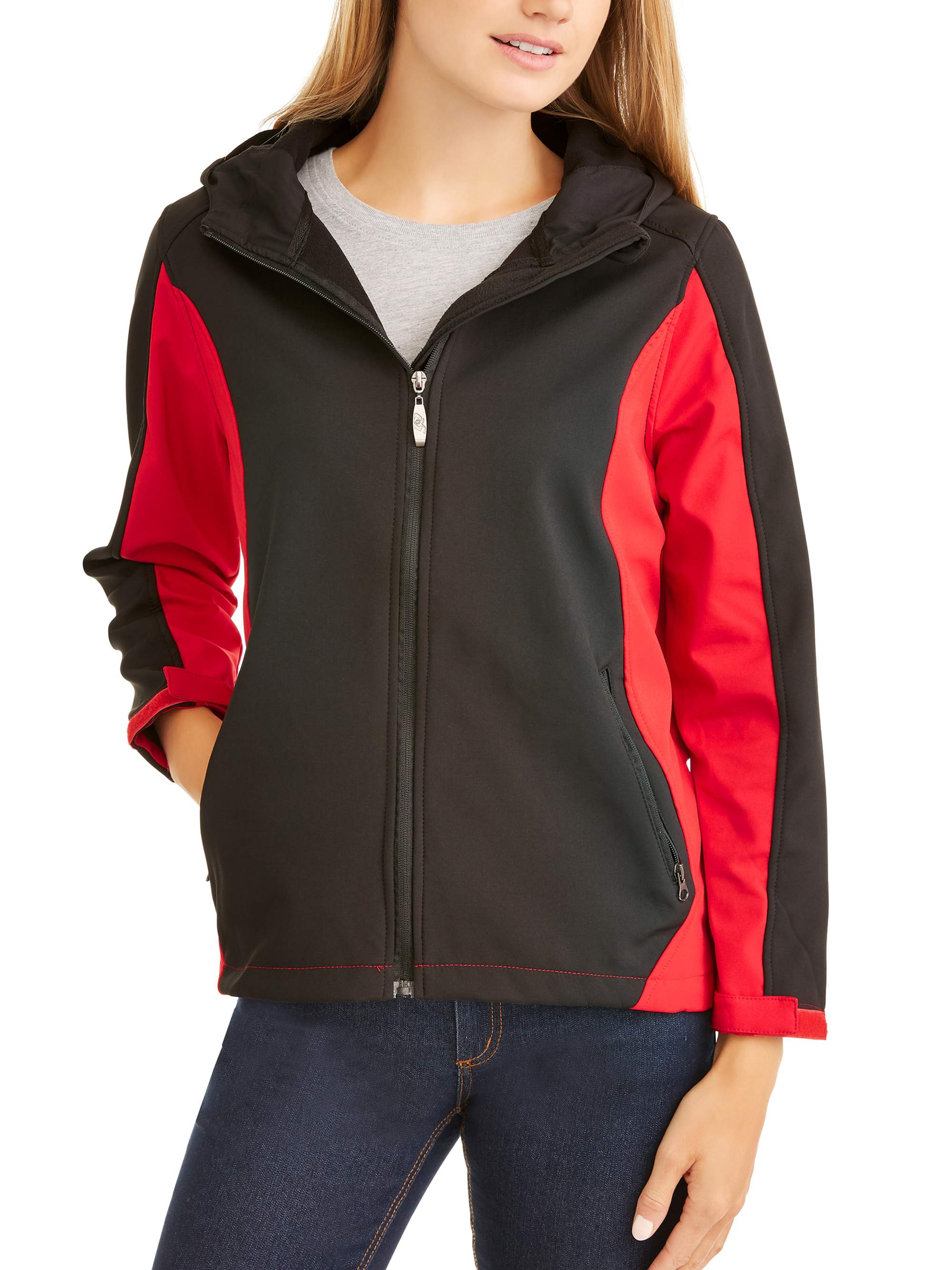 Women's Color Block Bonded Soft Shell Jacket with Hood