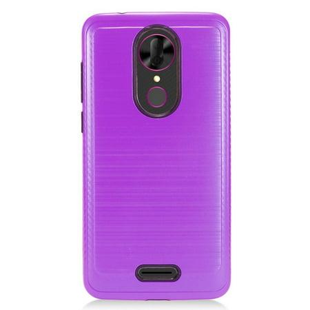 For T-Mobile Revvl Plus Brushed HYBRID Shockproof Carbon Fiber Trim Phone Case (Purple)