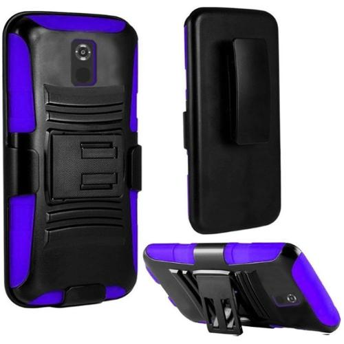 Insten Black/Purple Dual Layer Hybrid Hard PC/Silicone Holster Case Cover For Motorola Moto X (2nd Gen 2014 version)