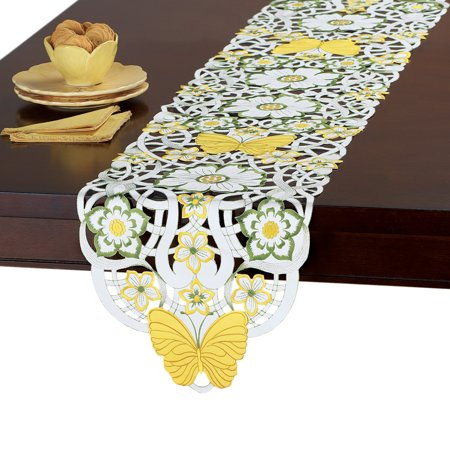 Yellow Butterfly Floral Embroidered Cutout Table Linens - Perfect for Spring, Summer, Runner](Spring Table Runners)