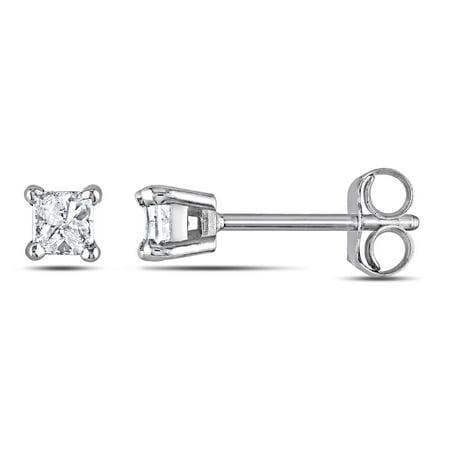 Princess Cut Diamond Solitaire Stud Earrings 1/4 Carat (ctw I2-I3, I-J) in 14K White (Ctw Princess Cut Diamond Stud)