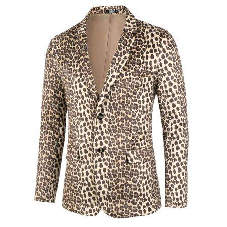 Men Vintage Leopard Print Luxury Notched Lapel Slim Fit Fashion Blazer